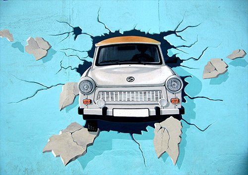 Car in the wall graffiti street art, Black colour - From £17.50 | Metal Plate Pictures