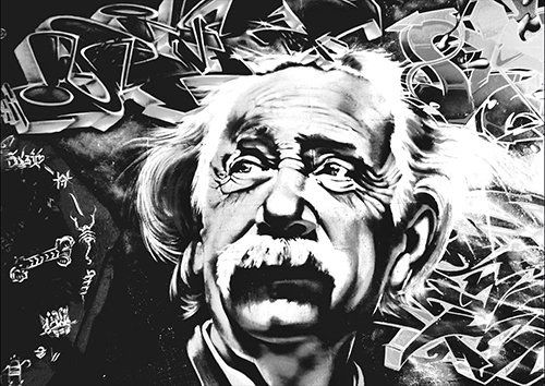 Einstein bw, Black colour - From £17.50 | Metal Plate Pictures