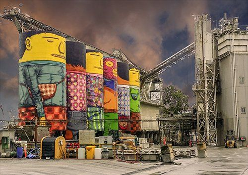 Facility silos industrial street art, Black colour - From £17.50 | Metal Plate Pictures