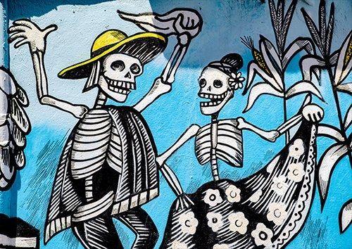 Graffiti bones dancing street art, Black colour - From £17.50 | Metal Plate Pictures