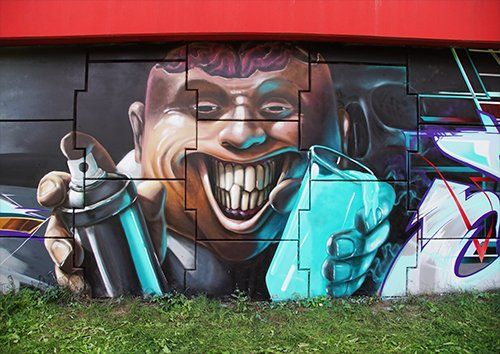 Graffiti brain face street art, Black colour | Metal Plate Pictures