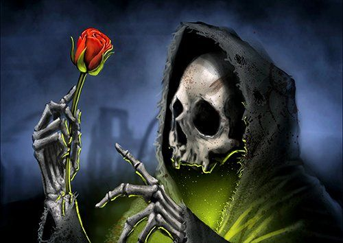 Grim reaper holding a rose, Black colour - From £17.50 | Metal Plate Pictures