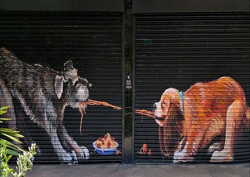 Lady and the tramp street art, Black colour - From £17.50 | Metal Plate Pictures