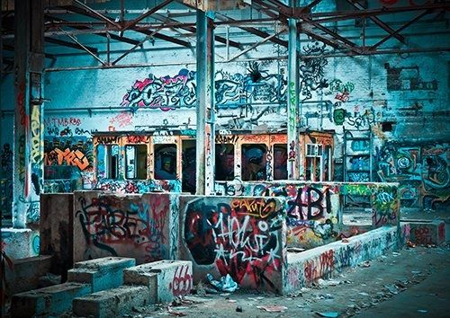 Lost places industrial grafitti street art, Black colour - From £20.50 | Metal Plate Pictures