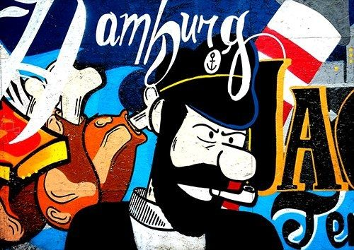 Sailor and his pipe street art, Black colour - From £17.50   Metal Plate Pictures
