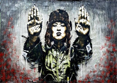 Stop the war grafitti street art, Black colour - From £20.50 | Metal Plate Pictures