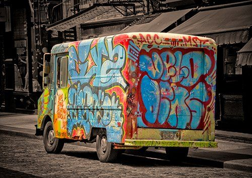 Truck graffiti street art, Black colour - From £17.50 | Metal Plate Pictures