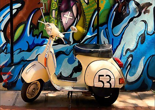 Vespa Art, Black colour - From £17.50 | Metal Plate Pictures