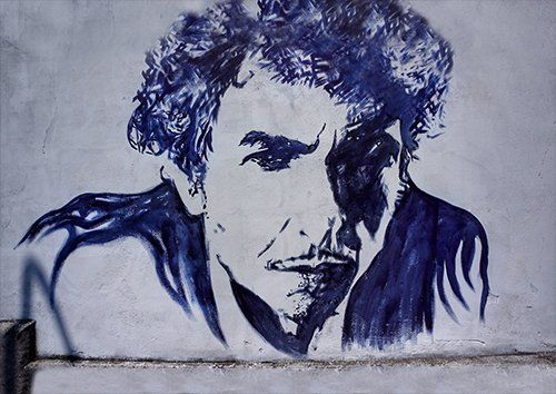 Bob Dylan Street Art Graffiti Verona Italy, Black colour - From £17.50 | Metal Plate Pictures