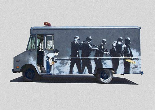 Banksy bomb truck, Black colour - From £17.50 | Metal Plate Pictures