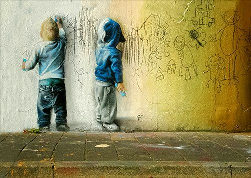 Banksy depicting children, Black colour - From £17.50 | Metal Plate Pictures