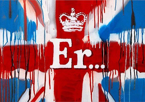 Banksy er union jack, Black colour - From £17.50   Metal Plate Pictures
