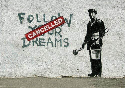 Banksy follow your dreams, Black colour - From £17.50 | Metal Plate Pictures
