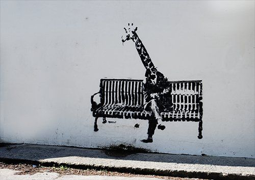 Banksy giraffe, Black colour - From £17.50 | Metal Plate Pictures