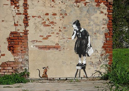 Banksy girl rat usa, Black colour - From £17.50 | Metal Plate Pictures