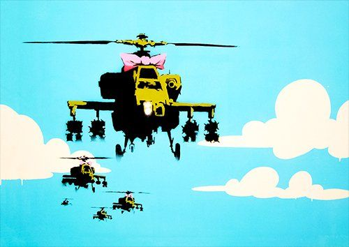 Banksy helicopter blue pink, Black colour - From £17.50 | Metal Plate Pictures