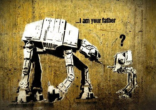 Banksy I am your farther, Black colour - From £17.50 | Metal Plate Pictures
