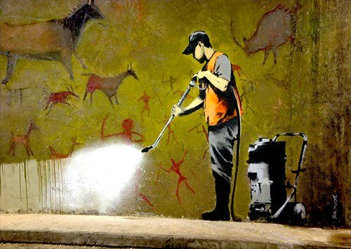 Banksy jet washing, Black colour - From £17.50 | Metal Plate Pictures