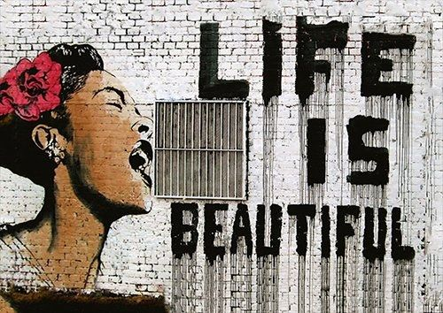Banksy life Is good, Black colour - From £17.50 | Metal Plate Pictures