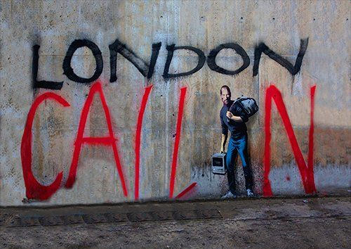 Banksy London calling, Black colour - From £17.50 | Metal Plate Pictures
