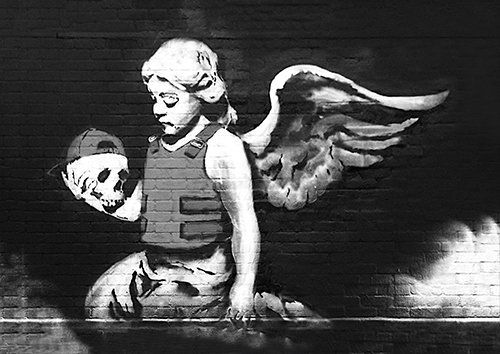 Banksy skull girl angel, Black colour - From £17.50 | Metal Plate Pictures