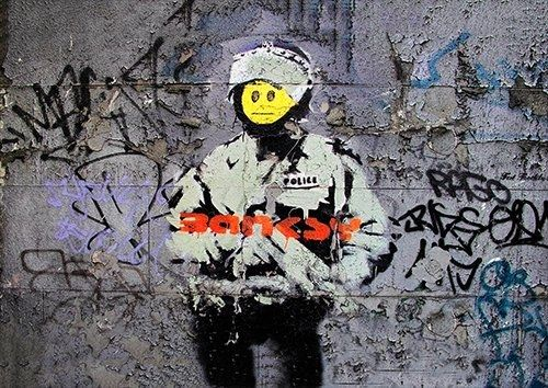 Banksy smile soilder, Black colour - From £17.50 | Metal Plate Pictures