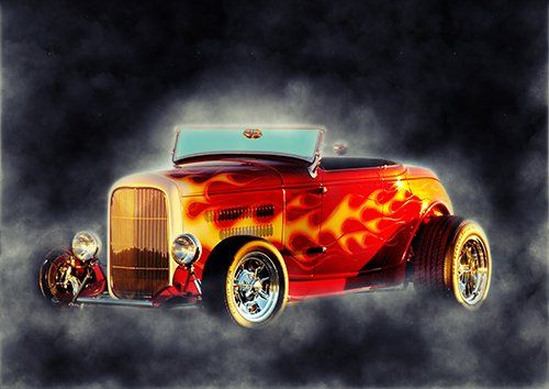 Car American Hotrod Colourfull Smoke, Black colour - From £17.50 | Metal Plate Pictures