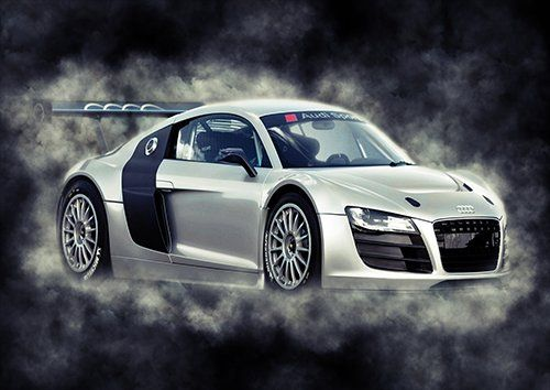 Car Audi Sports Car Silver Smoke, Black colour - From £17.50 | Metal Plate Pictures