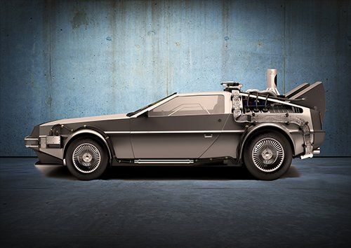 Car Back To The Future Delorean Grey, Black colour - From £17.50 | Metal Plate Pictures