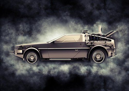 Car Back To The Future Delorean Grey Smoke, Black colour - From £20.50 | Metal Plate Pictures