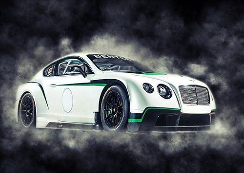 Car Bentley Continental GT3-R White smoke, Black colour - From £17.50 | Metal Plate Pictures
