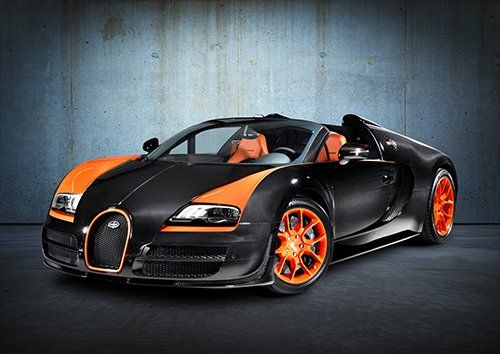 Bugatti Veyron Grand Sport Vitesse Black, Black colour - From £17.50 | Metal Plate Pictures