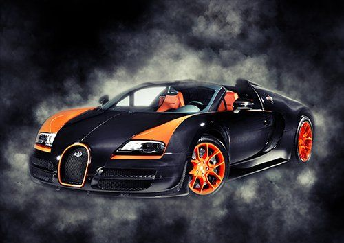 Car Bugatti Veyron Sport  Black Smoke, Black colour - From £17.50 | Metal Plate Pictures