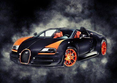 Car Bugatti Veyron Sport  Black Smoke, Black colour - From £20.50 | Metal Plate Pictures