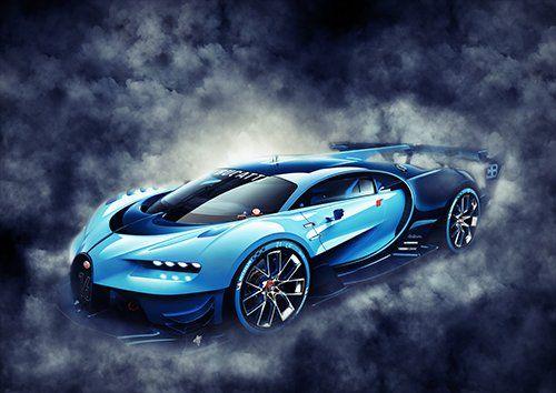 Car Bugatti Vision Gran Turismo Blue Smoke, Black colour - From £20.50   Metal Plate Pictures