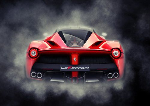 Ferrari Car Laferrari Rear Smoke, Black colour - From £17.50 | Metal Plate Pictures