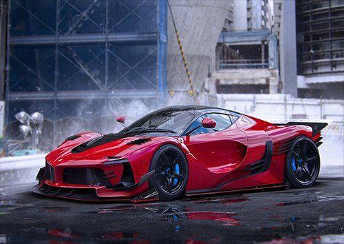 Car ferrari laferrari red hot supercar, Black colour - From £20.50 | Metal Plate Pictures