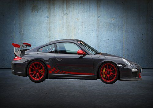 Car Porche 911 grey, Black colour - From £17.50 | Metal Plate Pictures