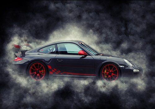 Car Porche 911 grey Smoke, Black colour - From £17.50   Metal Plate Pictures