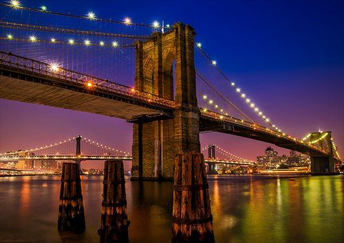 Brooklyn Bridge, Black colour - From £17.50 | Metal Plate Pictures