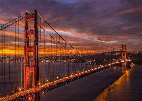 California San-Francisco Bridge Golde Gate beautiful dusk, Black colour - From £17.50 | Metal Plate Pictures