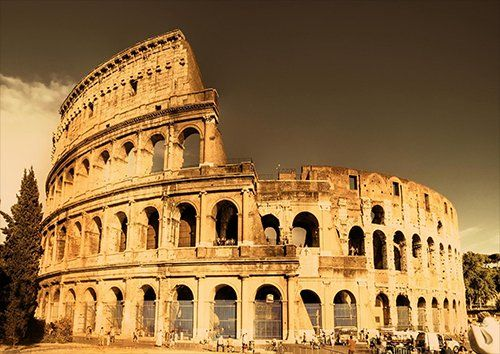 Colosseum ancient monuments, Black colour - From £17.50 | Metal Plate Pictures