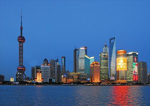 Dusk in shanghai, Black colour - From £17.50 | Metal Plate Pictures