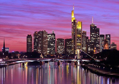 Germany frankfurt at night, Black colour - From £17.50   Metal Plate Pictures