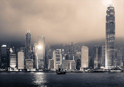 Hong Kong Victoria Harbour, Black colour - From £17.50 | Metal Plate Pictures