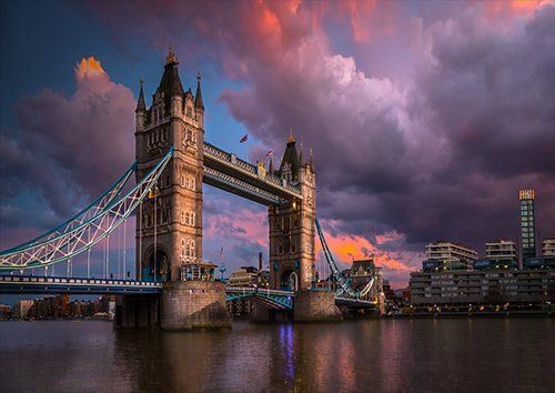 London River Dusk, Black colour - From £17.50 | Metal Plate Pictures