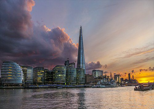 London Shard dusk, Black colour - From £17.50   Metal Plate Pictures