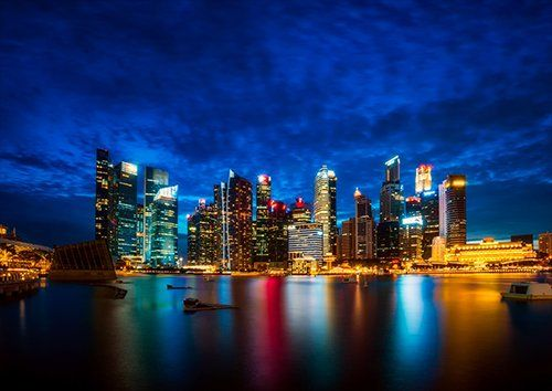 Singapore Skyline, Black colour - From £17.50 | Metal Plate Pictures