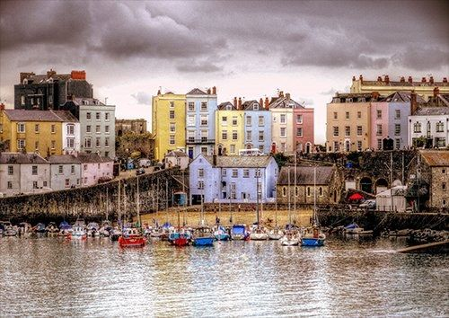 Tenby Harbour United Kingdom City, Black colour - From £17.50 | Metal Plate Pictures