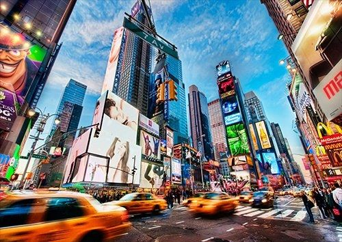 Times Square New York, Black colour - From £17.50 | Metal Plate Pictures